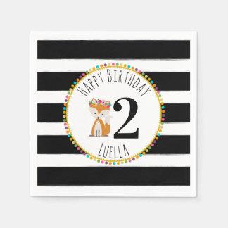 Fox Pompom Stripes Birthday Napkins Disposable Napkin