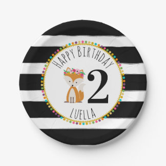 Fox Pompom Stripes Birthday Paper Plate