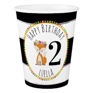 Fox  Pompom Stripes Birthday Party Paper Cup