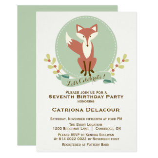 Fox Portrait Floral Kids Birthday Party Invitation