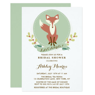 Fox Portrait Green Bridal Shower Invitation