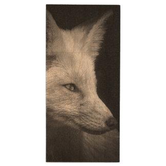 Fox Portrait USB Flash Drive Wood USB 3.0 Flash Drive