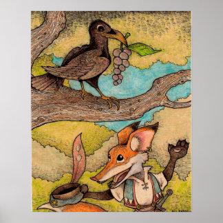 Fox & Raven (Aesop's Fables) Poster