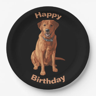 Fox Red Yellow Labrador Retriever Dog Paper Plate