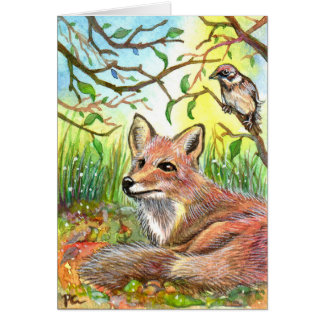 Fox Resting With Sparrow Card