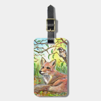 Fox Resting With Sparrow Luggage Tag