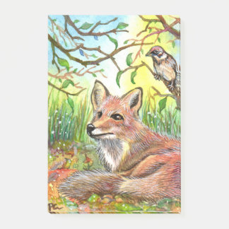 Fox Resting With Sparrow Post-it Notes