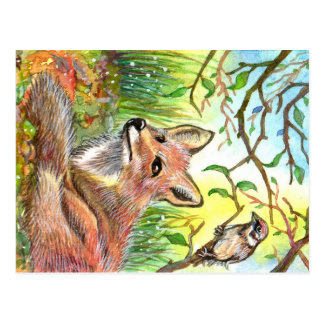 Fox Resting With Sparrow Postcard