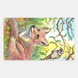Fox Resting With Sparrow Sticker