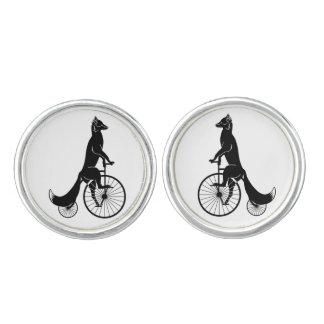 Fox Riding a Vintage Bicycle Cufflinks