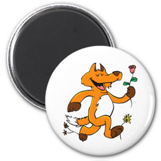 Fox running with a flower magnet
