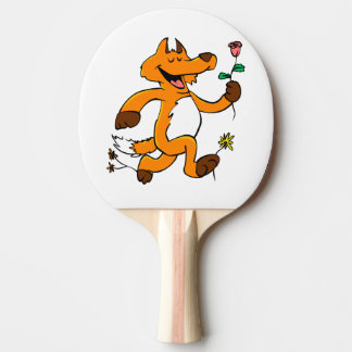 Fox running with a flower ping pong paddle
