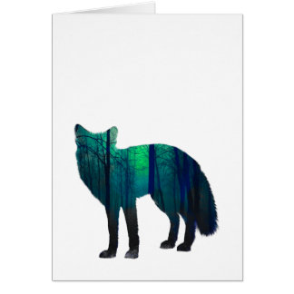 Fox silhouette - forest fox - fox art - wildfox card