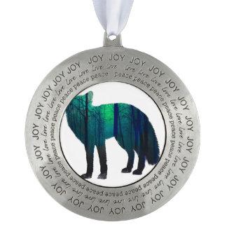 Fox silhouette - forest fox - fox art - wildfox pewter ornament