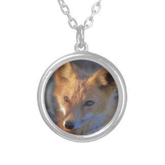 fox silver plated necklace