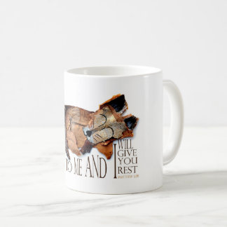 Fox Sleeping, Come to Me and I will Give You Rest Coffee Mug