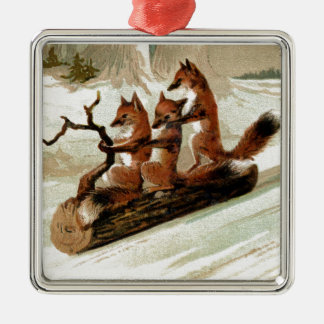 Fox Sleigh Ride Vintage Print Metal Ornament