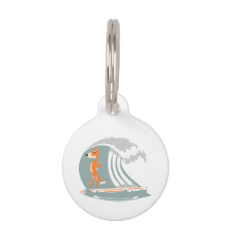 Fox Standing on a Surfboard Pet ID Tag