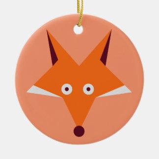 Fox Star Round Ceramic Ornament
