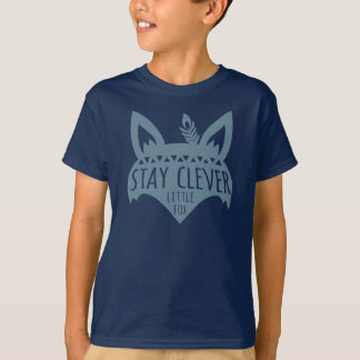 Fox, Stay Clever Little Fox, Blue T-Shirt