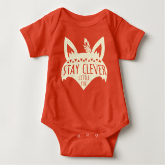Fox, Stay Clever Little Fox, Pale Yellow Baby Bodysuit