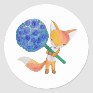 Fox Stickers Red Fox Favor Gift Thank you Stickers