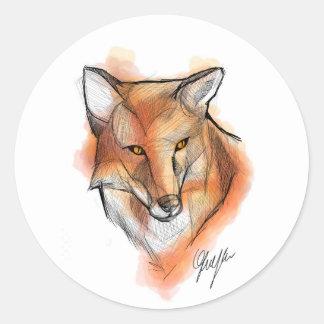 Fox Stiker Classic Round Sticker