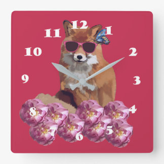 Fox, Sunglasser , Pink Wall Clock