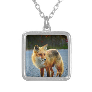 Fox Sunset Fence Silver Plated Necklace