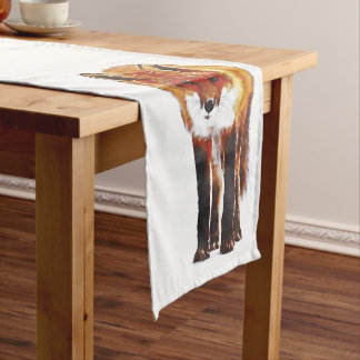 fox table runner, woodland table linen short table runner