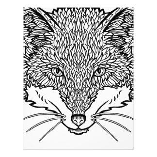 Fox-Tattoo art - Black line Illustration Letterhead