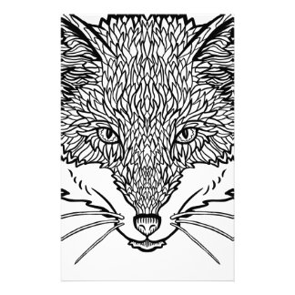 Fox-Tattoo art - Black line Illustration Stationery