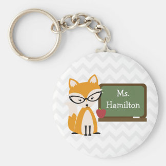 Fox Teacher At Chalkboard Keychain
