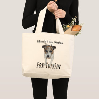 Fox Terrier And A House Is A Home Logo, Large Tote Bag