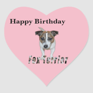 Fox Terrier And Fox Terrier Logo, Birthday Heart Sticker