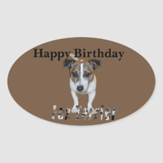 Fox Terrier And Fox Terrier Logo, Birthday Oval Sticker