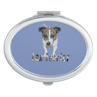 Fox Terrier And Fox Terrier Logo, Blue Oval Makeup Mirrors