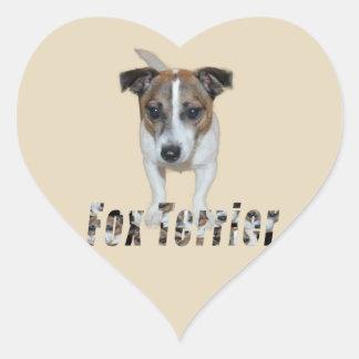 Fox Terrier And Fox Terrier Logo, Heart Sticker