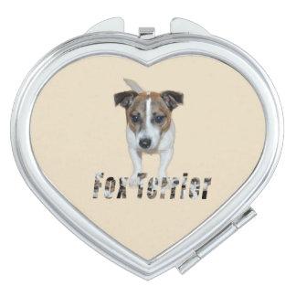 Fox Terrier And Fox Terrier Logo, Heart Vanity Mirror