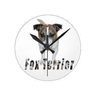 Fox Terrier And Fox Terrier Logo, Round Clock