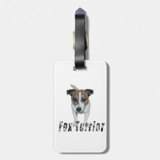 Fox Terrier And Fox Terrier Logo, White Luggage Tag