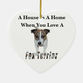 Fox Terrier And Fox Terrier Love Logo, Ceramic Ornament