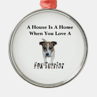 Fox Terrier And Fox Terrier Love Logo, Metal Ornament
