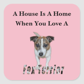 Fox Terrier And Fox Terrier Love Logo, Pink Square Sticker
