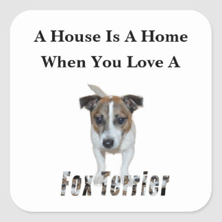 Fox Terrier And Fox Terrier Love Logo, Square Sticker