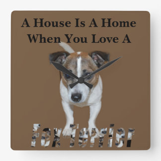 Fox Terrier And Fox Terrier Love Logo, Square Wall Clock