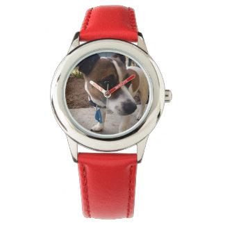 Fox Terrier, Attraction ,Kids Red Leather Watch