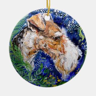 Fox Terrier Blue Ceramic Ornament