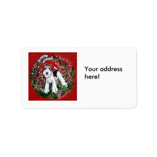 Fox Terrier Christmas Address Label