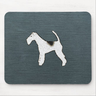 Fox Terrier Dog on Gray Blue Mouse Pad